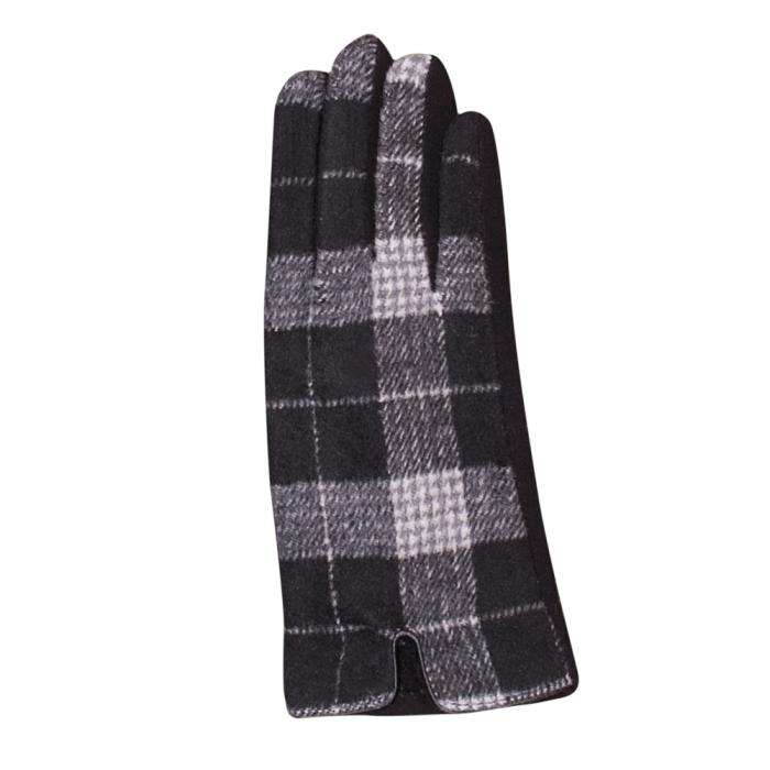Manusi dama,  textil cu fata ecosez predominant negru 1