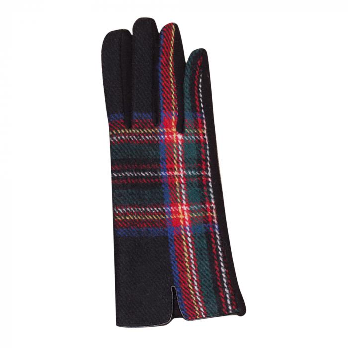 Manusi dama,  textil cu fata ecosez rosu negru [1]