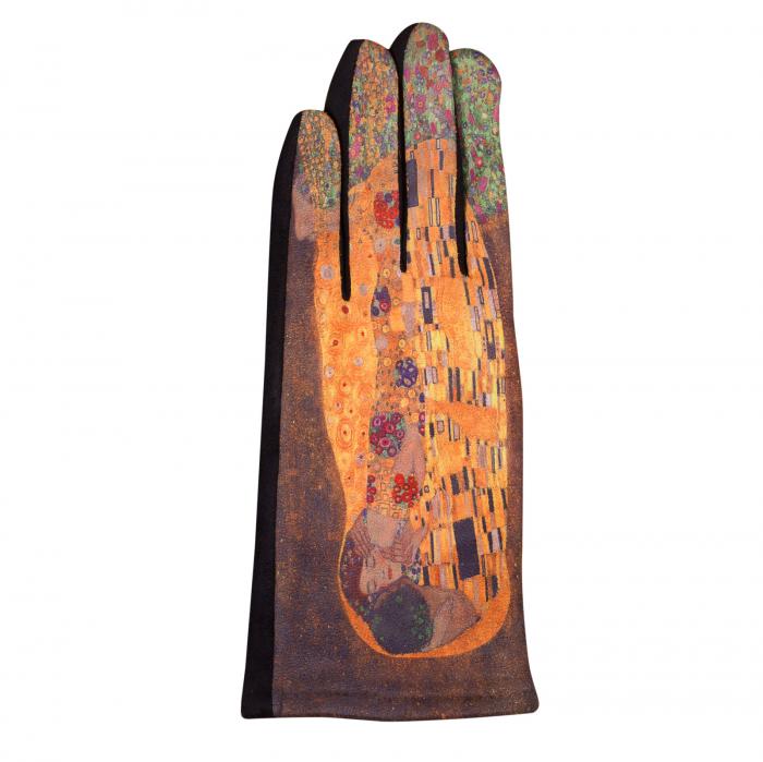 Manusi dama, textil cu imprimeu inspirat din pictura celebra 1