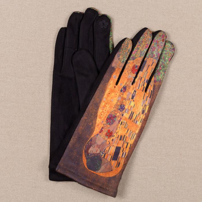 Manusi dama, textil cu imprimeu inspirat din pictura celebra 0