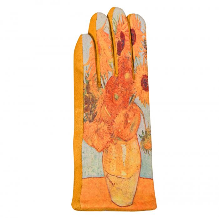Manusi dama, textil cu imprimeu inspirat din pictura celebra 2