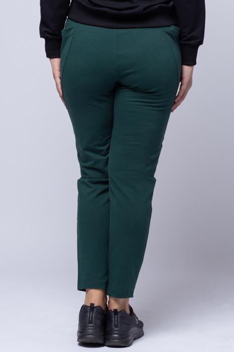 Pantaloni sport verzi,din bumbac, cu buzunare laterale [2]