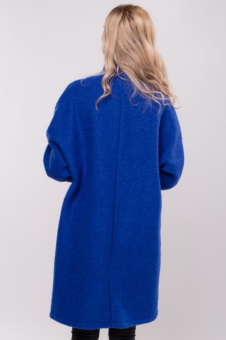 Palton albastru midi din lana naturala 3