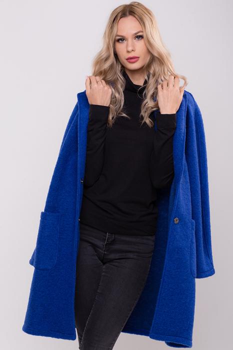 Palton albastru midi din lana naturala 1