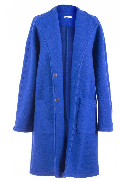 Palton albastru midi din lana naturala 4