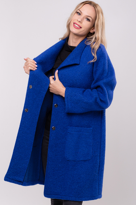 Palton albastru midi din lana naturala 2