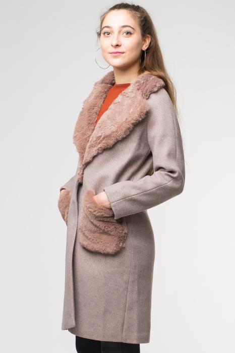 Palton bej din stofa cu buzunare din blana artificiala [2]