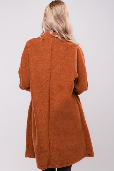 Palton caramiziu midi din lana naturala 1