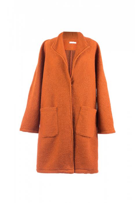 Palton caramiziu midi din lana naturala 2