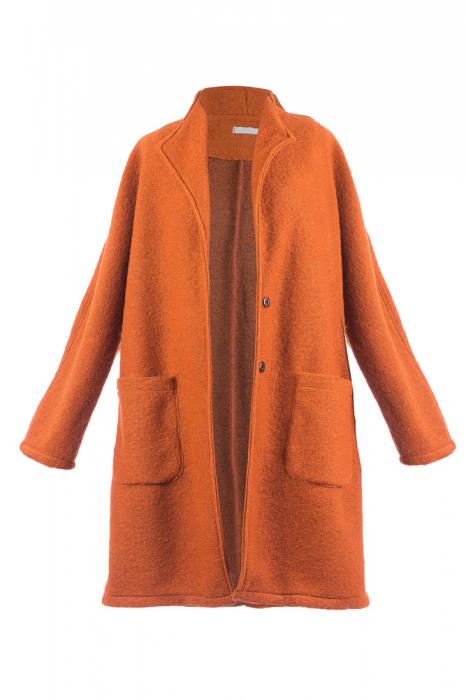 Palton caramiziu midi din lana naturala 3