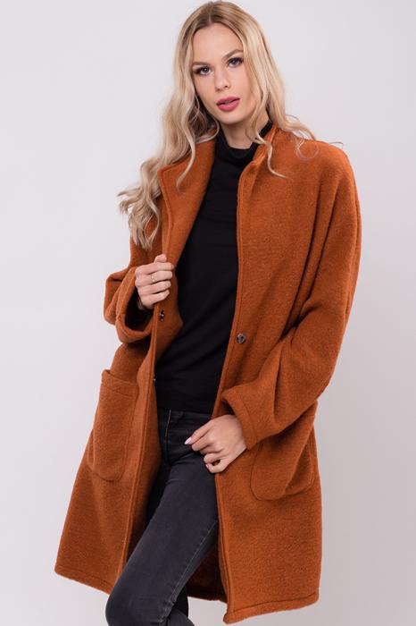Palton caramiziu midi din lana naturala 0