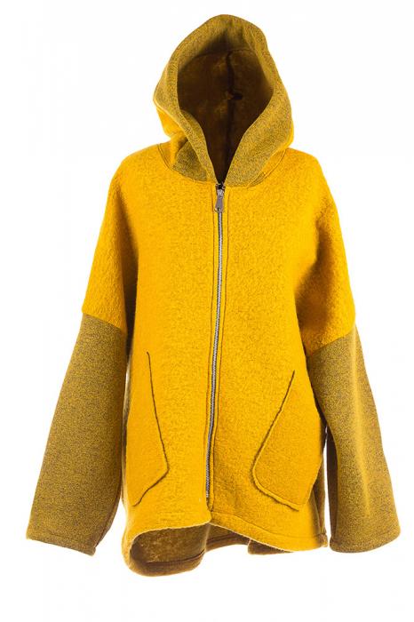 Palton galben lana, oversize, cu gluga [0]