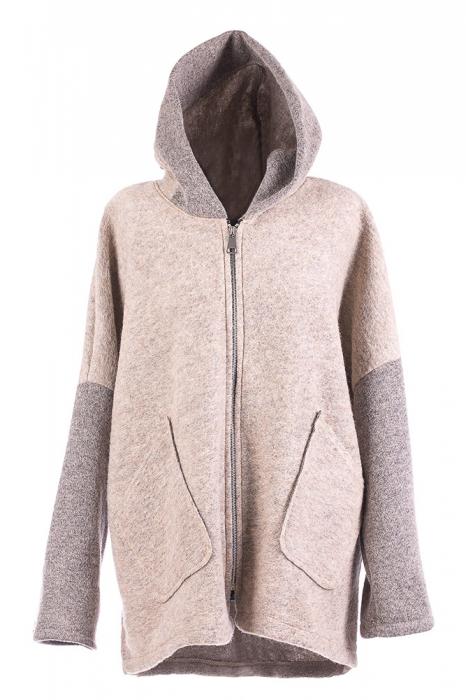 Palton gri deschis lana, oversize, cu gluga [0]