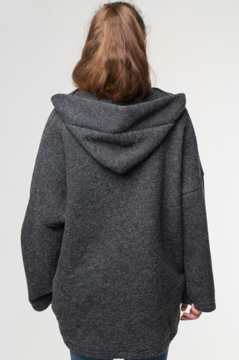 Palton gri lana oversize, cu gluga [3]