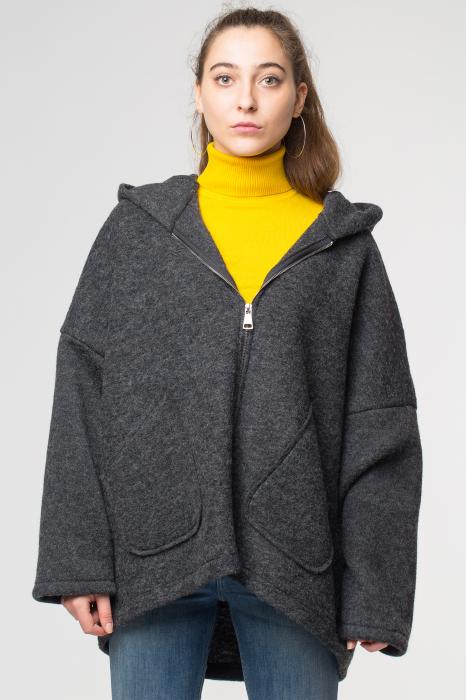 Palton gri lana oversize, cu gluga [0]