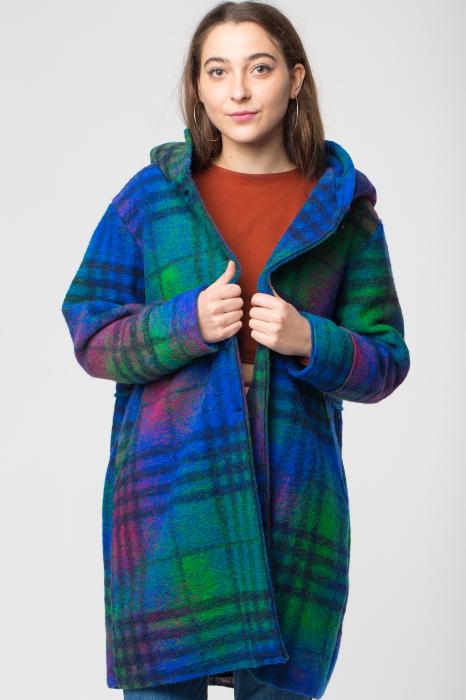 Palton captusit lana ecosez predominant albastru 0