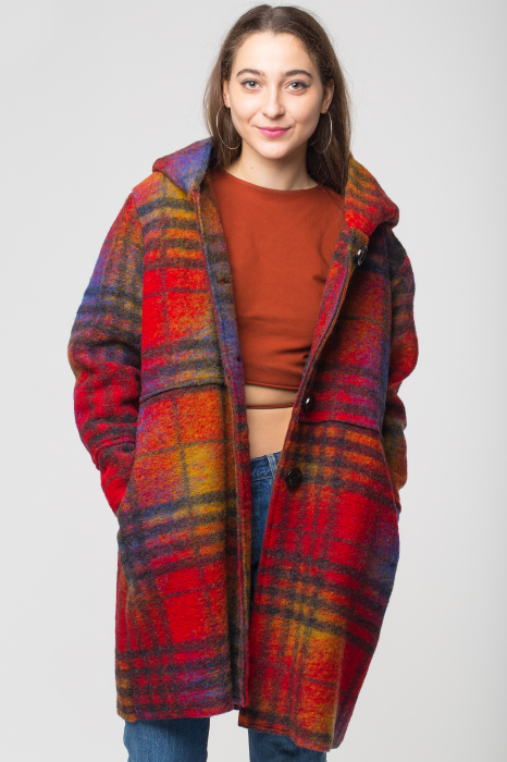 Palton captusit lana ecosez predominant rosu 0
