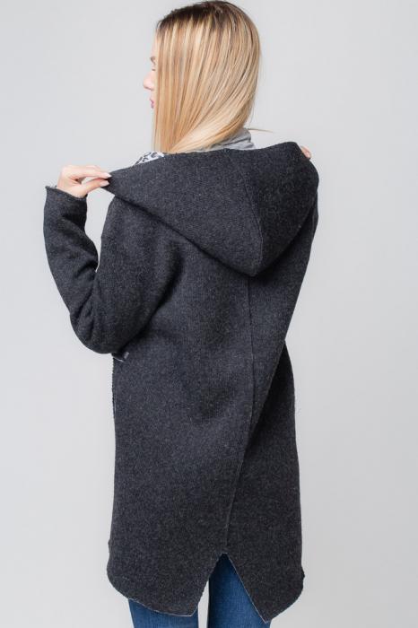 Palton lana negru cu gluga, cu interior animal print 2