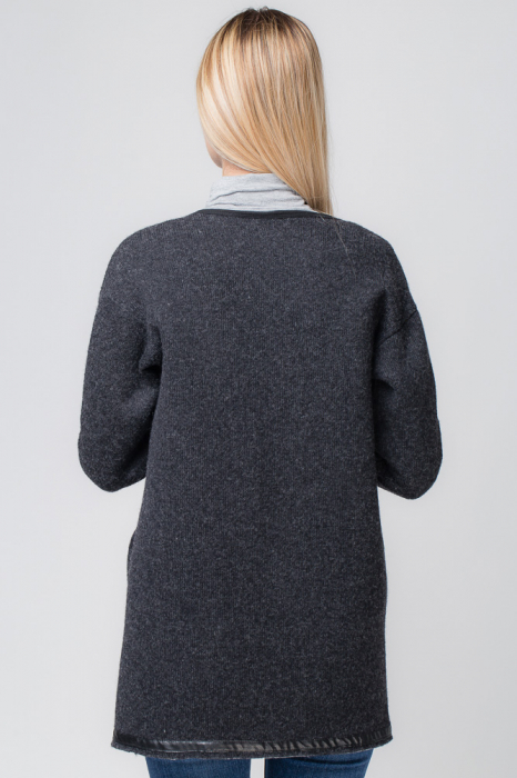 Palton lana negru, cu interior animal print 1