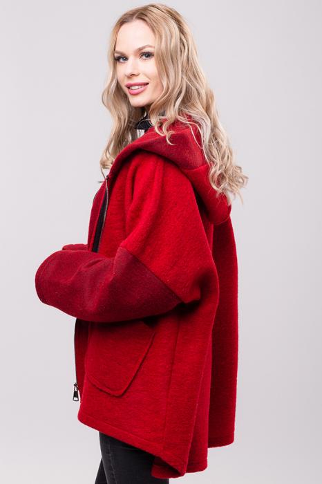 Palton rosu lana oversize, cu gluga [1]