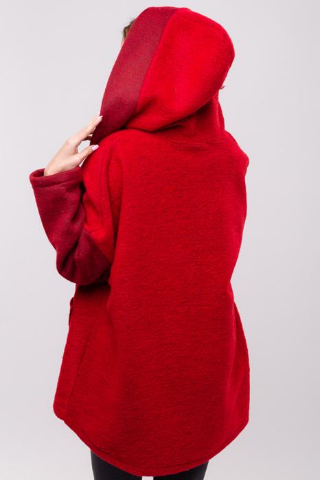 Palton rosu lana oversize, cu gluga [2]