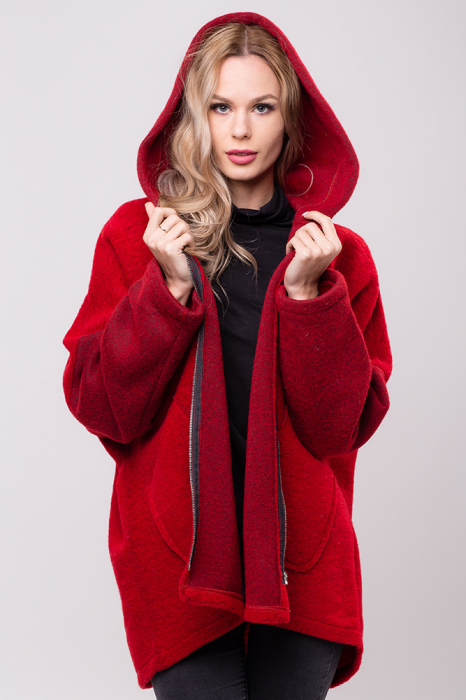 Palton rosu lana oversize, cu gluga [0]