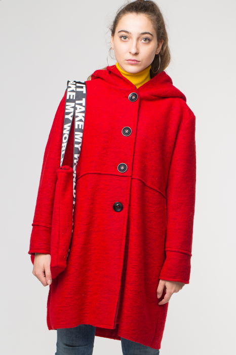 Palton rosu midi, din lana cu gluga si gentuta 1