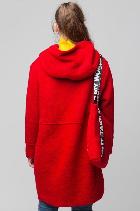 Palton rosu midi, din lana cu gluga si gentuta 3