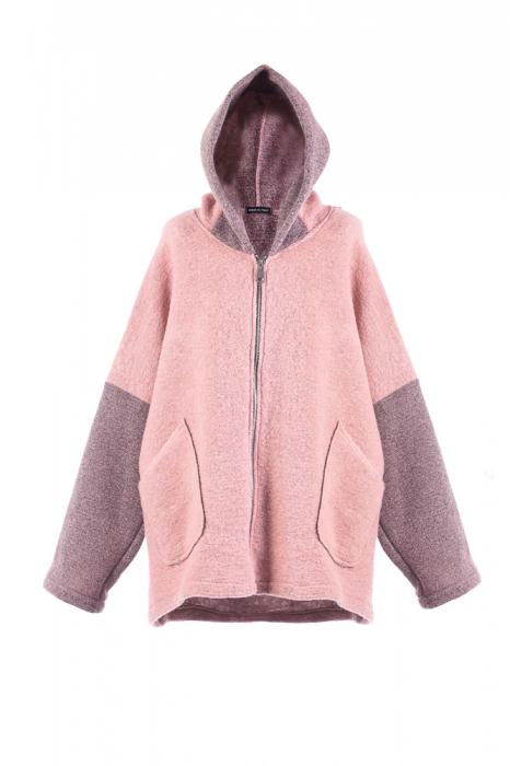 Palton roz lana , oversize, cu gluga [0]