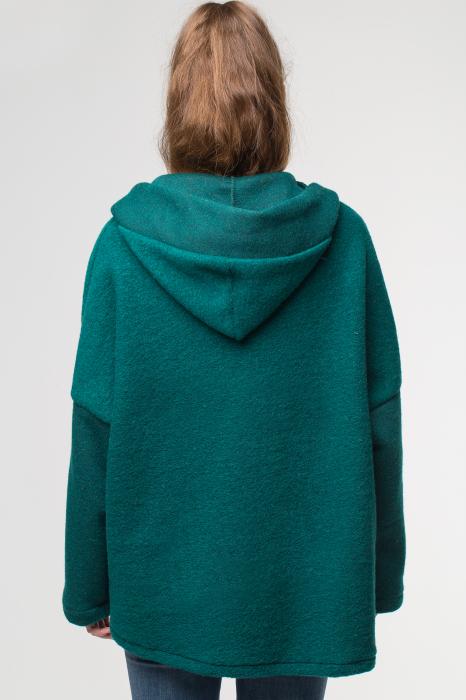 Palton verde smarald lana, oversize, cu gluga 2