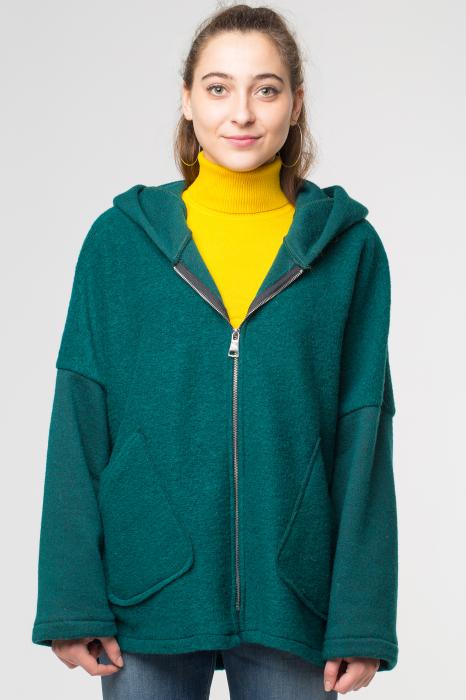 Palton verde smarald lana, oversize, cu gluga 0