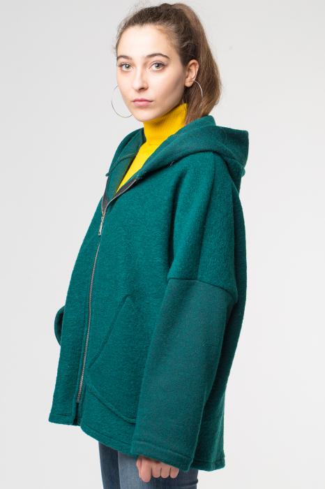 Palton verde smarald lana, oversize, cu gluga 1