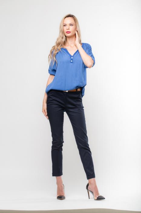 Pantaloni bleumarin office, curea inclusa [1]