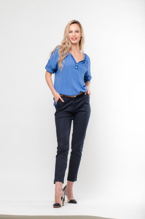 Pantaloni bleumarin office, curea inclusa [0]