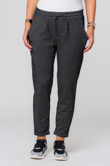 Pantaloni negri cu dungi albe casual sport [0]