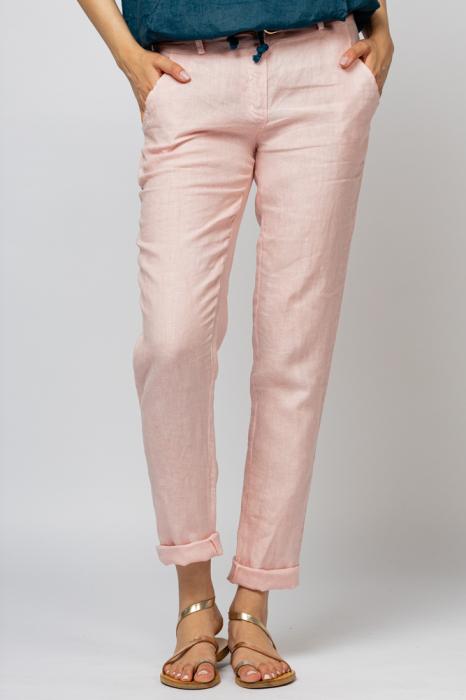 Pantaloni pana din in, roz [1]