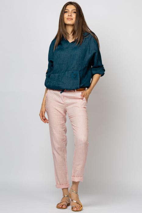 Pantaloni pana din in, roz [0]