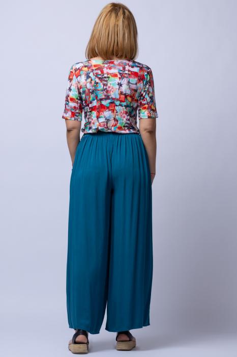 Pantaloni turcoaz casual, largi din vascoza, cu o curea fancy 1