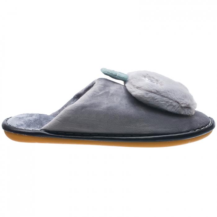 Papuci de casa gri cu decoratiune Apple 0
