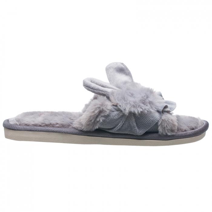 Papuci de casa gri cu decoratiune urechi de iespuras [1]