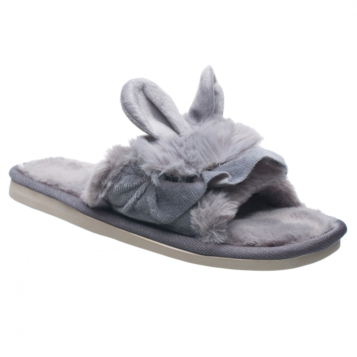 Papuci de casa gri cu decoratiune urechi de iespuras [0]