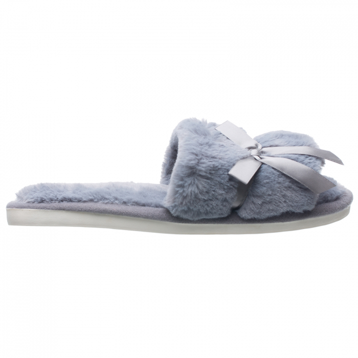 Papuci de casa gri cu panglica si funda [0]