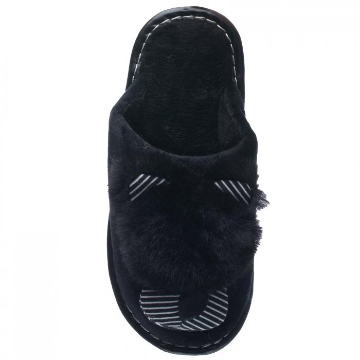 Papuci de casa negri cu decoratiune animalut 1