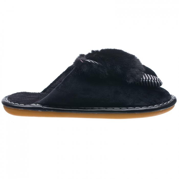 Papuci de casa negri cu decoratiune animalut 0
