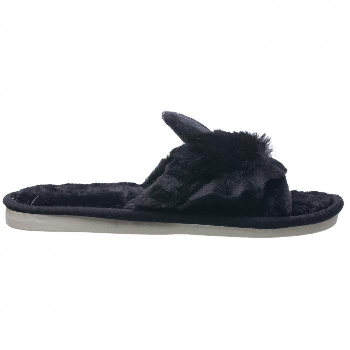 Papuci de casa negri cu decoratiune urechi de iespuras [1]