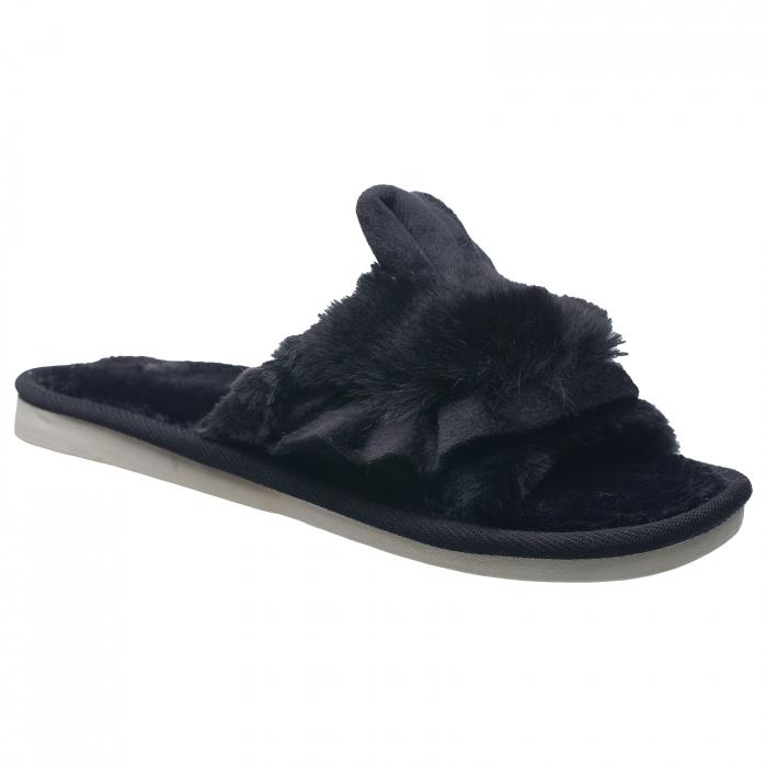 Papuci de casa negri cu decoratiune urechi de iespuras [0]