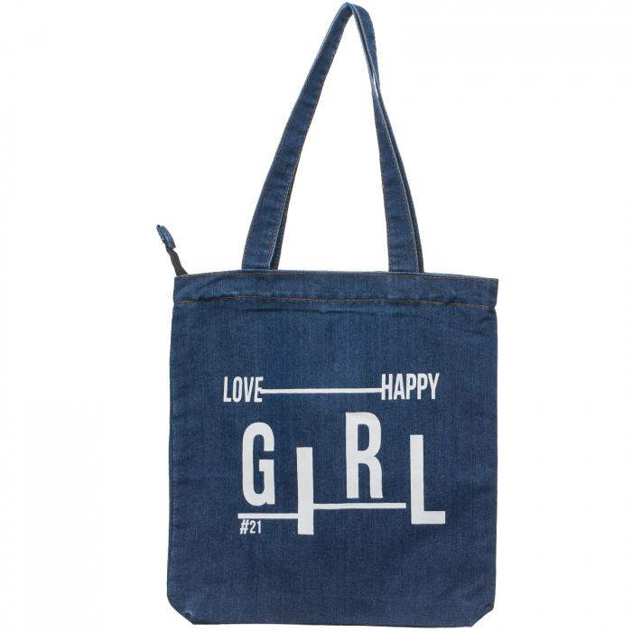 Geanta shopper din blug denim inchis cu imprimeu `GIRL` [0]