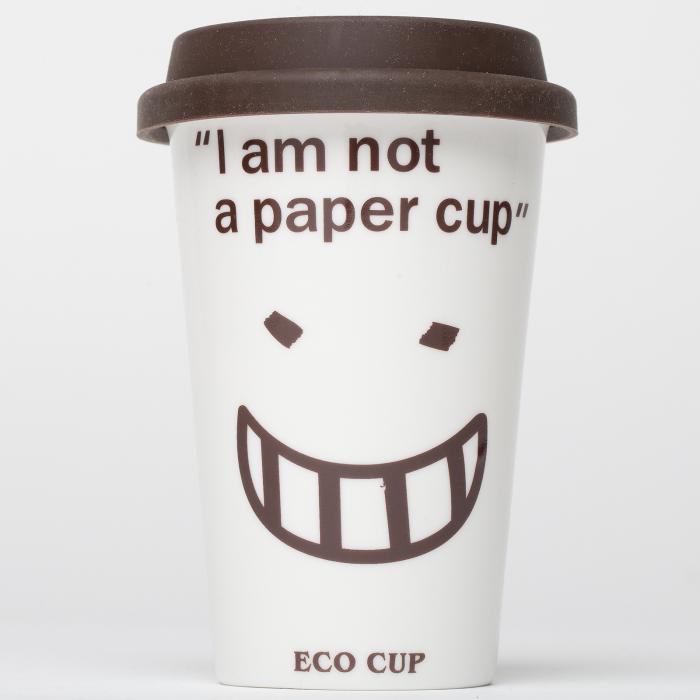 """Pahar alb reutilizabil """"I am not a paper cup"""" 0"""