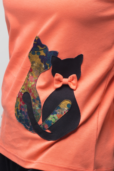 Pijama bumbac doua piese doua pisicute, corai-negru [3]