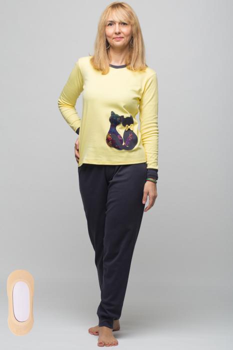 Pijama bumbac doua piese doua pisicute, galben-negru 4